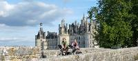 Cycling at Chambord chateau, Loire Valley